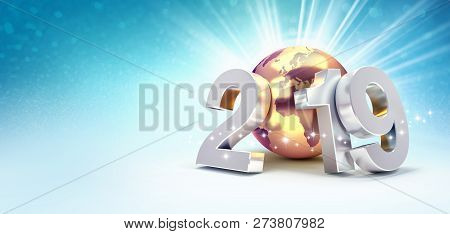 2019 New Year Silver Date Number Composed With A Gold Planet Earth, Focused On Europe And Africa, Sh
