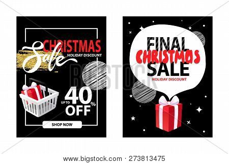 Sale On Christmas Holiday, Leaflet With Info About Discounts Up To 40 Percent Off, Shop Now Button.