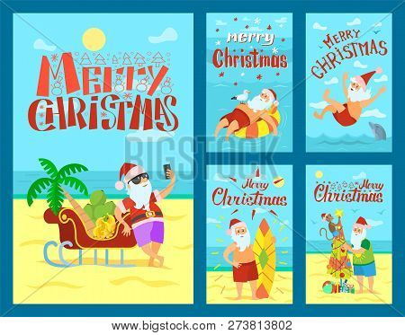 Merry Christmas, Santa Claus And Sleigh Full Of Fruits. Vector New Year Character In Tropical Countr