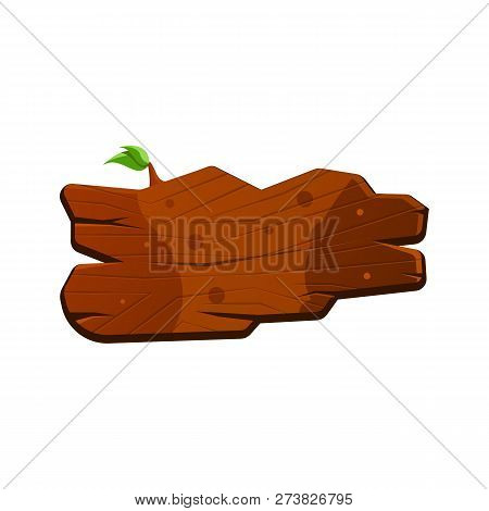 Cartoon Wood Sign Board With Cracks And With Leaves. Old West Wood Plank. Welcome Board. Plank For B