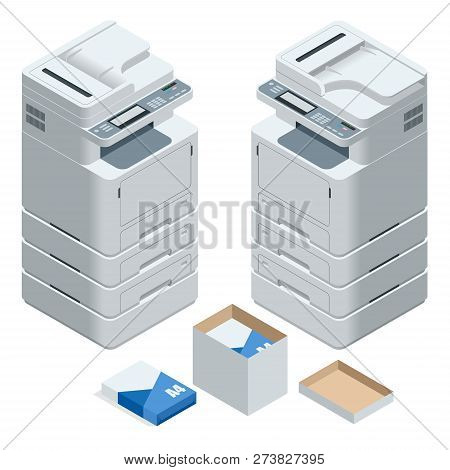 Isometric multifunction office printer. Office professional multi-function printer scanner isolated flat vector illustration poster