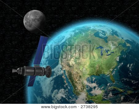 Satellite Towards Earth With Moon 3D Render