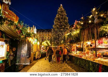 Dresden, Germany - 9.12.2018: People Visit Christmas Market Striezelmarkt In Dresden, Germany. Chris