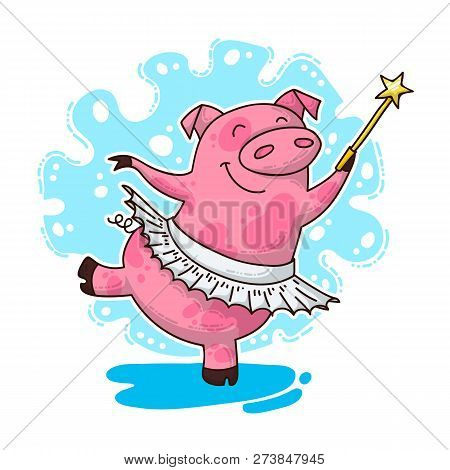 Vector Illustration For New Year And Christmas With Fairy Pig. Winter Greeting Design.