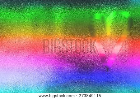 Background Of Heart On Misted Colorful Glass