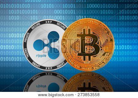 Bitcoin (btc) And Ripple (xrp) Coin On The Binary Code Background; Bitcoin Vs Ripple