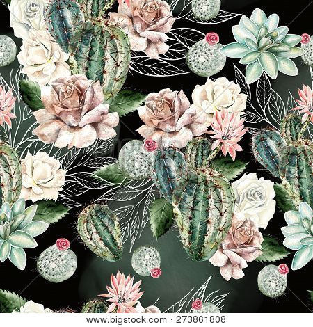 Watercolor Pattern With Cactus And Rose . Illustration