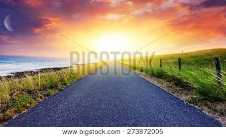 Sunset Above Road . Light From Sky . Religion Background . The Sky At Night With Stars. New Moon . R