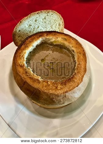 Five Star Cream Of Truffle And Porcini Mushroom Served In A Fresh Baked Bread Cup