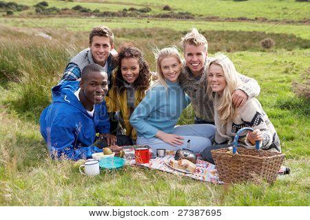 Junge Erwachsene auf Land-Picknick
