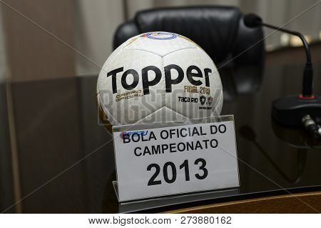 Rio, Brazil - December 12, 2018: Ball Of The Championship Carioca 2013 On Display At The Launch Of T
