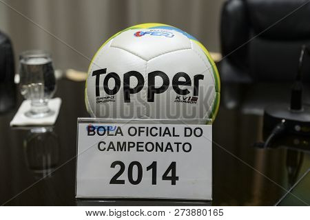 Rio, Brazil - December 12, 2018: Ball Of The Championship Carioca 2014 On Display At The Launch Of T
