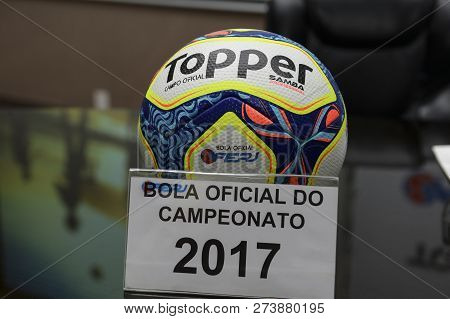 Rio, Brazil - December 12, 2018: Ball Of The Championship Carioca 2017 On Display At The Launch Of T
