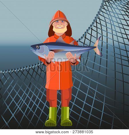 Fisherman In Waterproof Suit Holding Big Fish. Vector Illustration