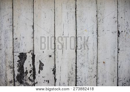 White Painted Wooden Board Photo Texture. Natural Wood Background. Distressed Rough Lumber Board. Na