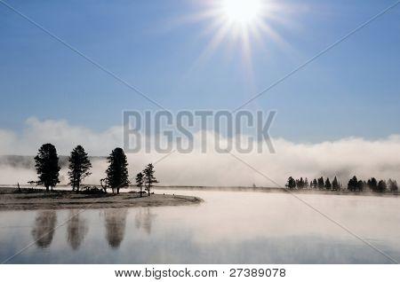 Foggy landscape Yellowstone