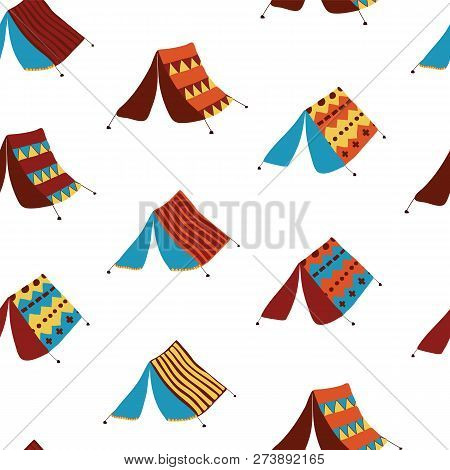 Teepee Tents Seamless Vector Pattern Background. Hand Drawn Boho Camping Tents. Camping Collection.