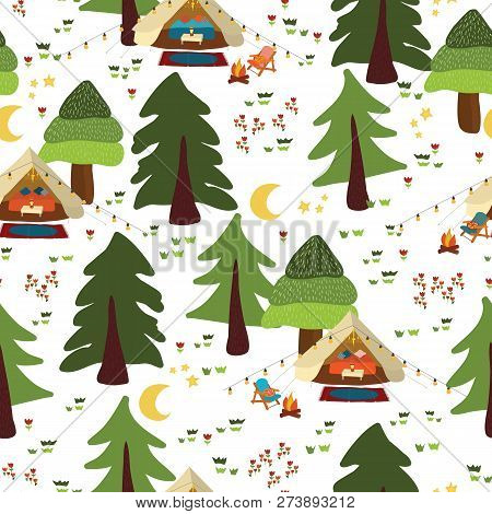 Camping Outdoor Scene Seamless Vector Background. Glamping Pattern. Boho Tents At Night In The Fores