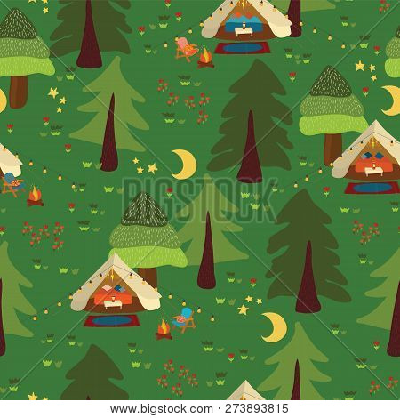 Campground Outdoor Scene Seamless Vector Background. Camping Pattern. Glamping Boho Tents At Night I
