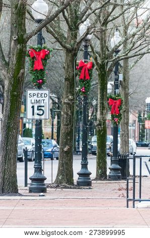 Christmas Decorations Lining The Streets Of Downtown Fayetteville