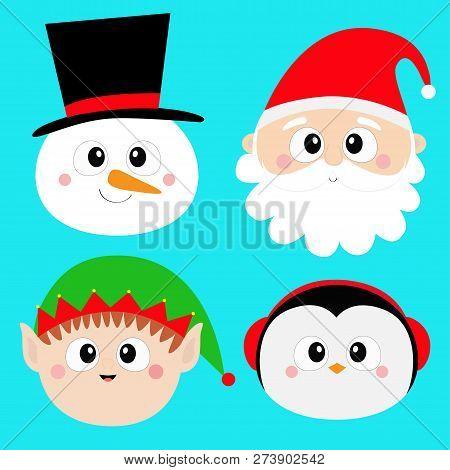 Santa Claus Elf Snowman Penguin Bird Round Face Head Icon Set. Merry Christmas. New Year. Cute Carto