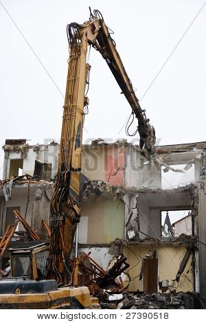 Demolition of flats using hydraulic shears, Czech republic poster