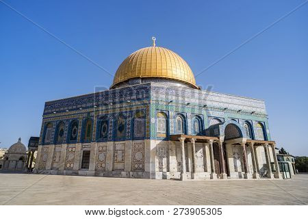 The Dom Of Rock On The Temple Mount In The Old City. Dome Was Constructed By The Order Of Umayyad Ca