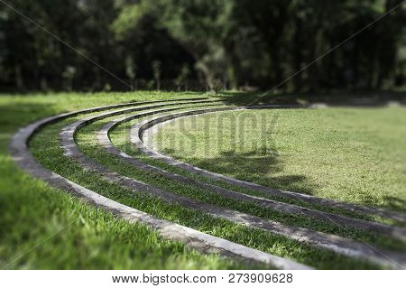 Sunny Green Grass Area In Resort, Stock Photo