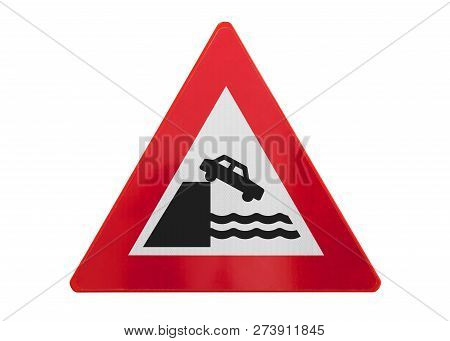 Traffic Sign Isolated - Car Falls Of The Cliff - On White