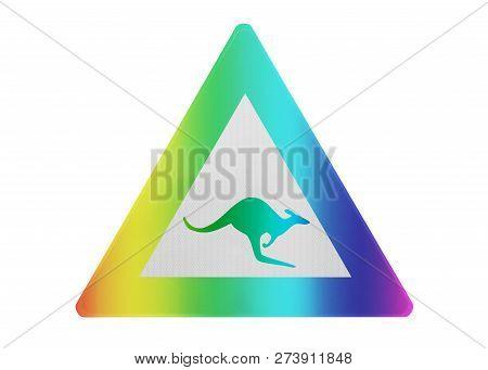 Traffic Sign Isolated - Kangaroo - Rainbow Colored (multi)