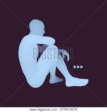 Man In A Thinker Pose. 3d Model Of Man. Business, Science, Psychology Or Philosophy Vector Illustrat