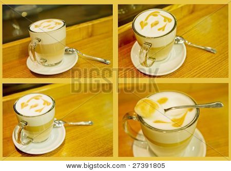 Cafe coffe latte macchiato glass foam pattern