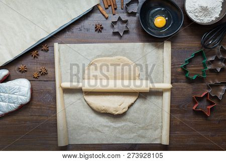 Homemade Christmas Cookies On Parchment. Xmas. The Process Of Baking Homemade Cookies. View From Abo