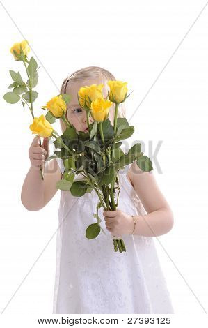 Florist Little Girl Preparing A Boquet Of Roses