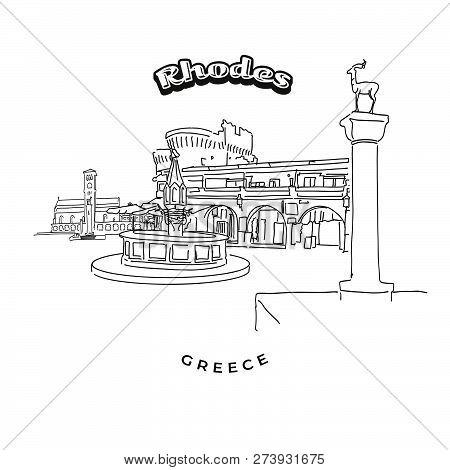 Rhodes Greece Landmarks Travel Sign. Hand-drawn Vector Illustration. Famous Travel Destinations Seri