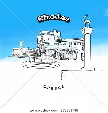 Rhodes Greece Famous Landmarks. Hand-drawn Vector Illustration. Famous Travel Destinations Series.