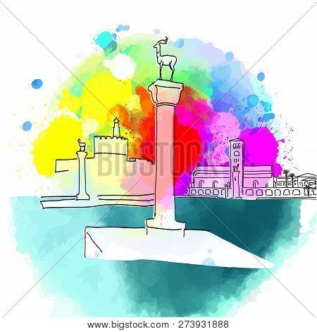 Colorful Rhodes Greece Travel Destination. Hand-drawn Vector Illustration. Famous Travel Destination