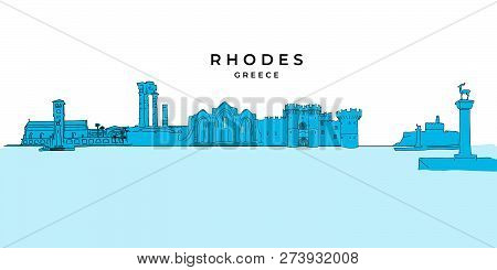Rhodes Greece Panorama Drawing. Hand-drawn Vector Illustration. Famous Travel Destinations Series.