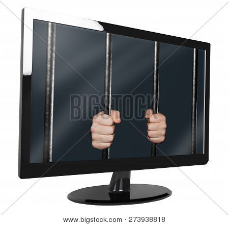 Monitor With Hands Holding Jail Bars On Screen, Isolated On White 3d Illustration