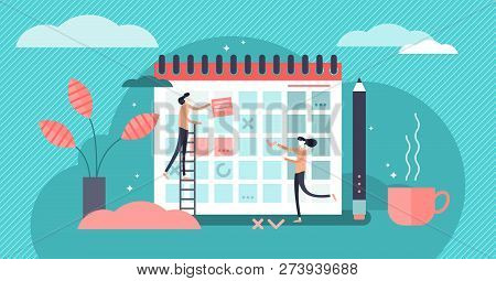 Planning Vector Illustration. Flat Mini Persons Concept With Schedule Calendar. System To Organize D