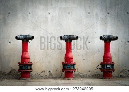 Three Fire Safety Pump On Cement Floor Of Concrete Building. Deluge System Of Firefighting System. P