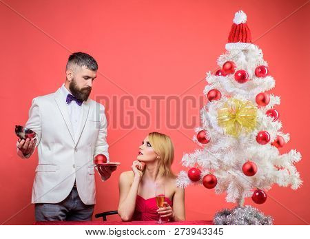 Family, Presents, Surprise, Winter, Happiness. Romantic Relationships. New Year's Eve. Couple In Lov