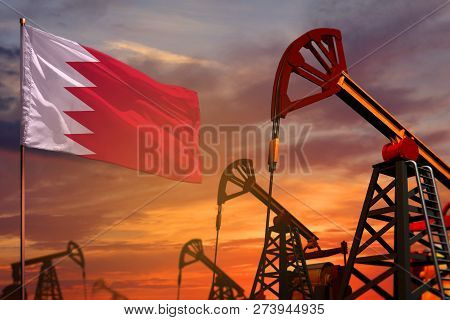 Bahrain Oil Industry Concept, Industrial Illustration. Bahrain Flag And Oil Wells And The Red And Bl