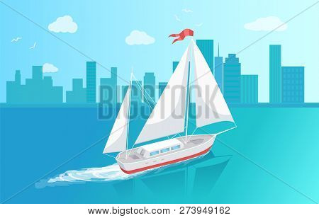 Sail Boat With White Canvas Sailing In Deep Blue Waters And Leave Trace Vector At Cityscape Backdrop