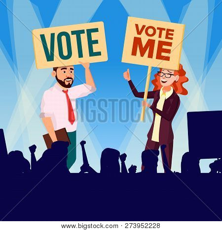 Agitation And Call To Vote Vector. Female And Male Characters Holding Broadsheet Vote And Shouting D