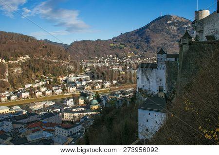 Panoramic View Of Salzburg From Festung Hohensalzburg Castle In Austria