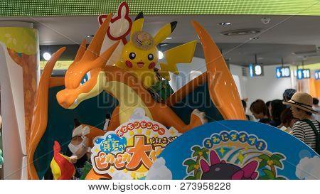 Tokyo, Japan - August 2018: Pokemon Figure At The Entrance Of The Pokemon Center Store In Sunshine C