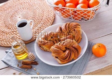 homemade cinnamon brioche buns - sweet food