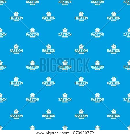 Bastion Medieval Pattern Vector Seamless Blue Repeat For Any Use