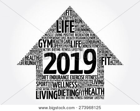 2019 Goals Arrow Word Cloud, Health Concept Background